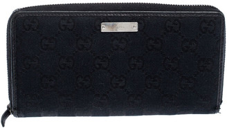 Gucci Black GG Canvas and Leather Zip Around Wallet