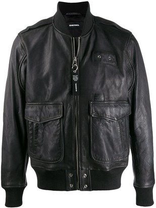 Diesel Aged Leather Aviator Jacket