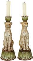 OKA Pair of Lakadema Leopard Candle Holders