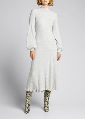 ANNA QUAN Amalia Blouson-Sleeve Midi Dress