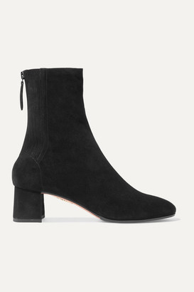Aquazzura Saint Honore 50 Suede Sock Boots - Black