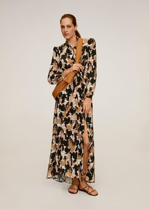 MANGO Printed long dress caramel - 4 - Women