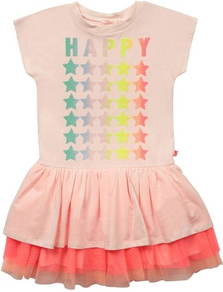 Billieblush Girls Short Sleeve Shimmer Star Jersey Tutu Dress - Pale Pink