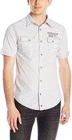 ProjekRaw Projek Raw Men's Stripe Double Pocket Short Sleeve Button Down Shirt