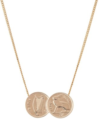 Katie Mullally 3D Double Irish Coin Necklace In Rose Gold Plate