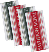 Asstd National Brand Happy Holidays Set of 4 Kitchen Towels