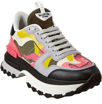 Valentino Camouflage Leather & Suede Sneaker