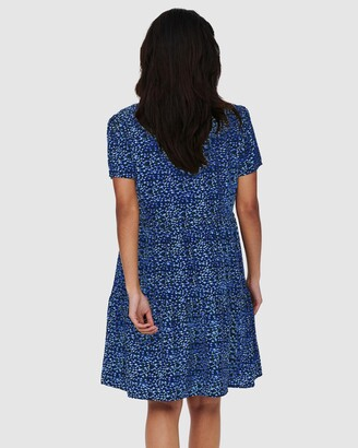 Only Women's Blue Mini Dresses - Zally Short Sleeve Dress - Size One Size, S at The Iconic