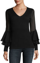 Neiman Marcus Chiffon Ruffle-Sleeve V-Neck Cashmere Sweater