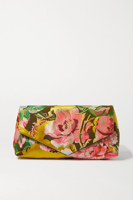Dries Van Noten Envelope Large Floral Satin-jacquard Clutch - Yellow