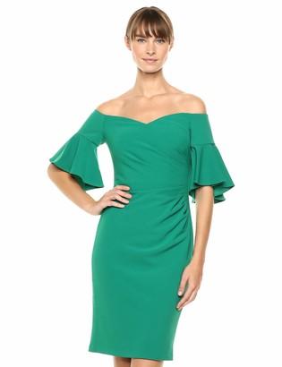 Calvin Klein Women's Off The Shoulder Neckline with Side Ruch Dress