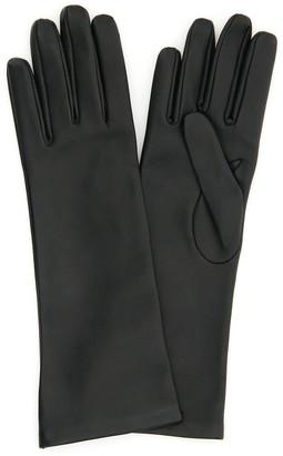 Saint Laurent MI-LONGS LEATHER GLOVES 7 Black Leather, Silk