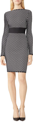 Herve Leger Geo Jacquard Long Sleeve Boat-Neck Cocktail Dress