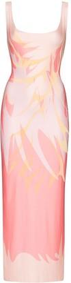 Maisie Wilen Patterned Low-Back Midi Dress