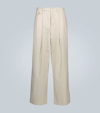 King And Tuckfield Striped double-pleated chinos