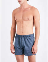 Hanro Blue Printed Classic Striped Relaxed-fit Cotton-jersey Boxers