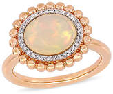 Fine Jewelry Womens 1/10 CT. T.W. Genuine White Opal 14K Rose Gold Halo Cocktail Ring Family
