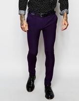 Asos Super Skinny Suit Trousers In Purple