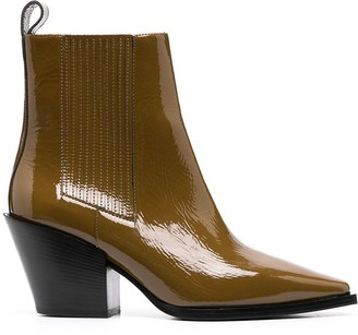 AEYDĒ Kate patent ankle boots