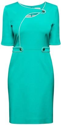 Rumour London Francesca Aqua Green Dress With Keyhole Tab Neckline