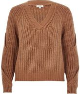 River Island Womens Brown chunky knit cold shoulder sweater