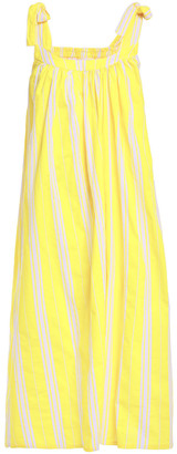 American Vintage Limonade Bow-detailed Printed Cotton-canvas Midi Dress