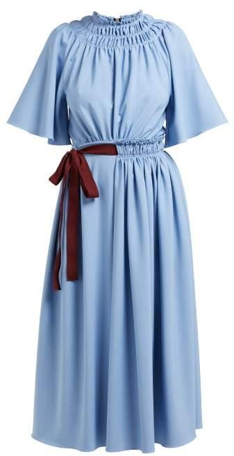 Roksanda Silba Belted Midi Dress - Womens - Blue Multi