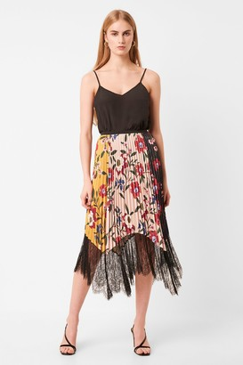 French Connenction Abeona Drape Lace Print Skirt