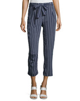 Laundry by Shelli Segal Tie-Waist Striped Crop Pants, Navy