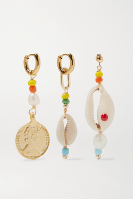 Eliou Siena Set Of Three Gold-tone Bead, Pearl And Shell Earrings - one size