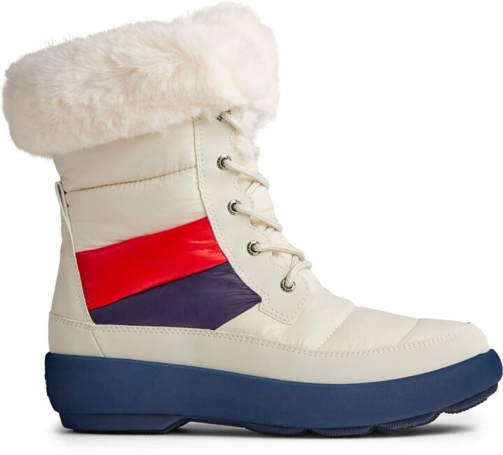Sperry Women's Bearing PlushWave Boots Nautical Stripe Nylon Snow
