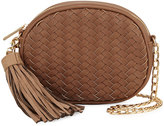 Neiman Marcus Woven Saffiano Tassel Crossbody Bag, Khaki