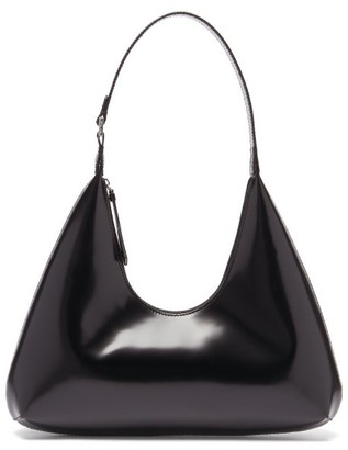 BY FAR Amber Patent-leather Shoulder Bag - Black