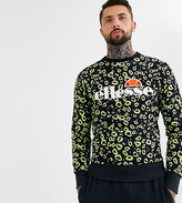 Ellesse Mazza all-over print sweat in black exclusive at ASOS