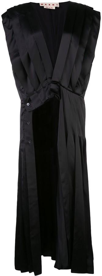Marni V-neck pleated asymmetric dress