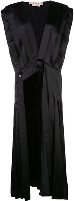 Marni V-neck pleated asymmetric dress