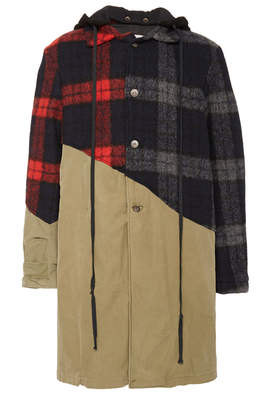 Greg Lauren Hooded Paneled Checked Cotton-Flannel Jacket