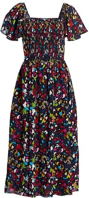 Tanya Taylor Glenda Smocked Silk Midi Dress