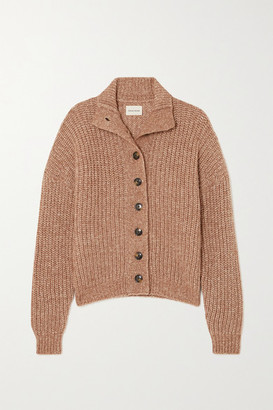 LOULOU STUDIO Canto Ribbed Melange Wool Cardigan - Tan