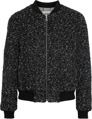 Alice + Olivia Lonnie Reversible Boucle And Prince Of Wales Checked Cady Bomber Jacket
