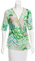 Blumarine Embellished Silk Wrap Blouse w/ Tags
