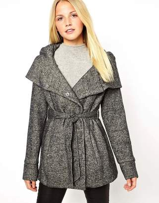 New Look Belted Snood Coat-Black