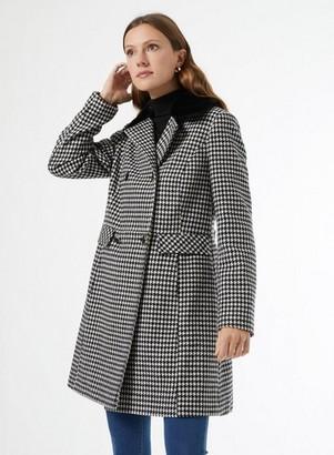 Dorothy Perkins Womens Black Dogtooth Dolly Coat, Black