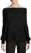 Calvin Klein Collection Off-the-Shoulder Cotton Crochet Sweater, Black