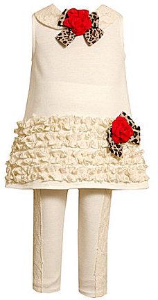 Bonnie Baby Infant Ruched-Trim Lace Dress & Knit Leggings Set