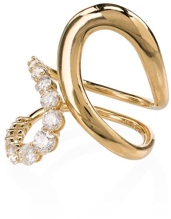 Melissa Kaye 18kt yellow gold Aria Jane twist diamond ring