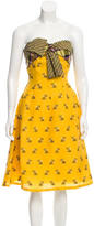 Oscar de la Renta Wool-Trimmed Silk Dress