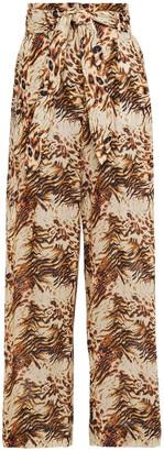 Nanushka Maeva Belted Floral-print Cotton-voile Wide-leg Pants