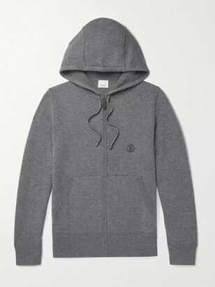 Burberry Logo-Embroidered Melange Cashmere-Blend Zip-Up Hoodie