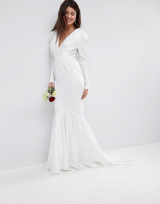 Asos EDITION pintuck shoulder wedding dress with fishtail